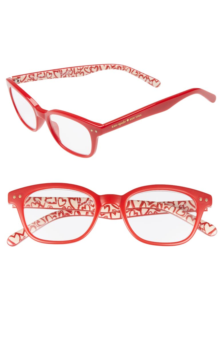 KATE SPADE NEW YORK rebecca 47mm reading glasses, Main, color, RED