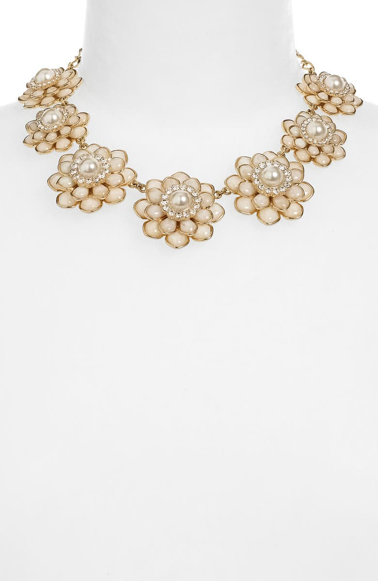 KATE SPADE NEW YORK 'sweet zinnia' floral necklace, Main, color, CREAM/ GOLD