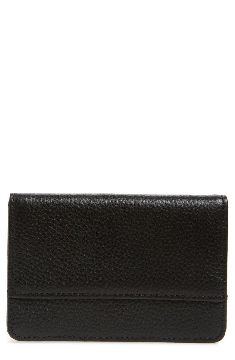 NORDSTROM Ruby Pebbled Leather Cardholder, Main, color, BLACK