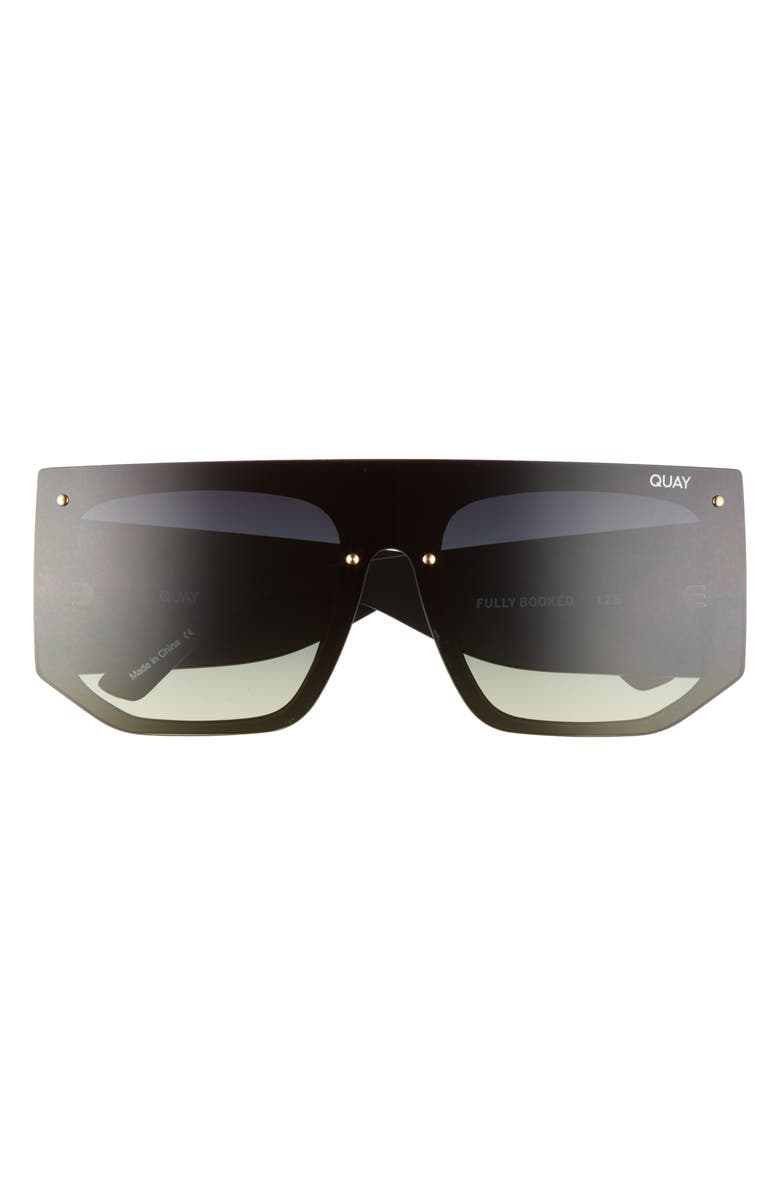 QUAY AUSTRALIA Fully Booked 150mm Gradient Shield Sunglasses, Main, color, BLACK/ SMOKE GREEN