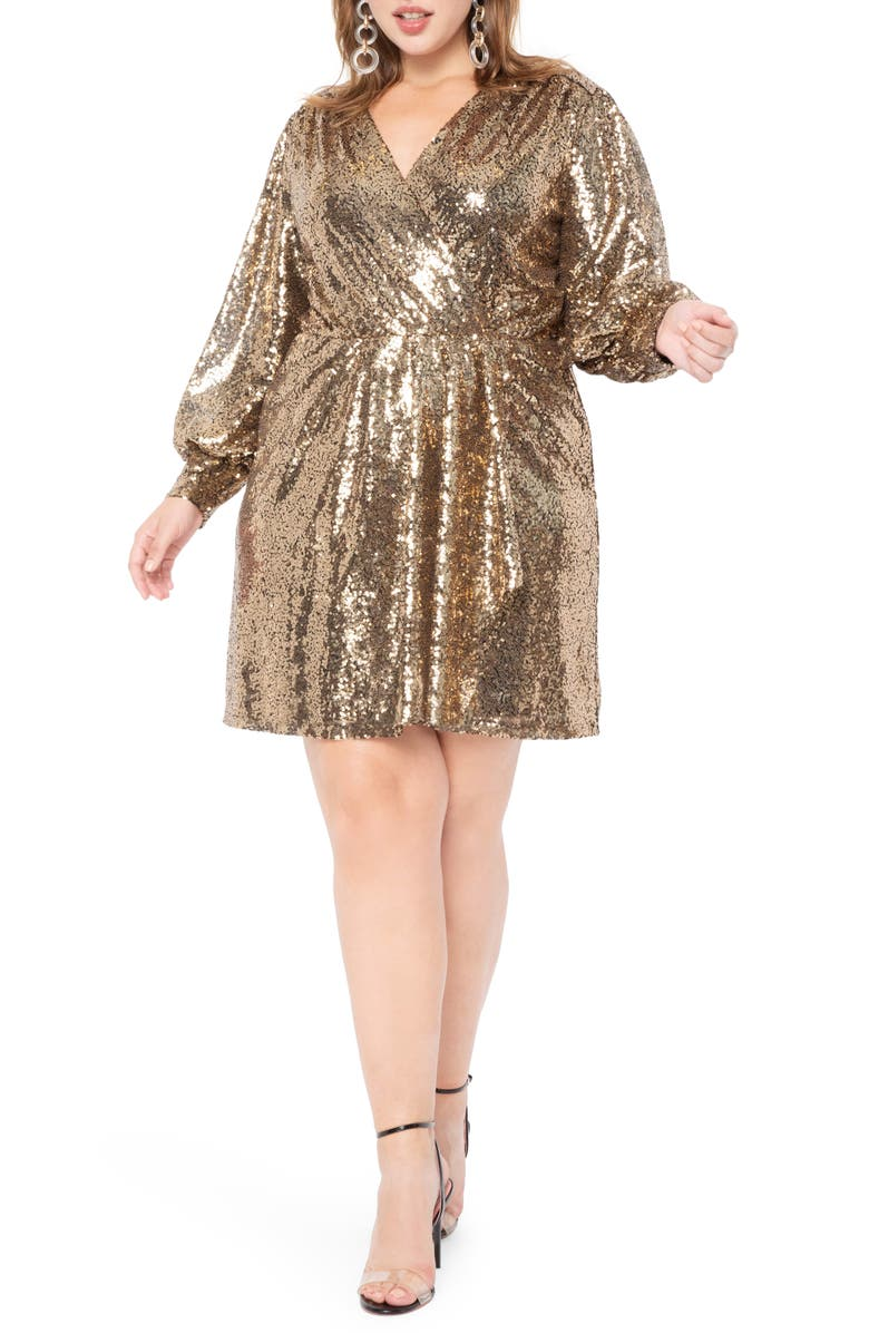 ELOQUII Long Sleeve Sequin Cocktail Dress, Main, color, 710