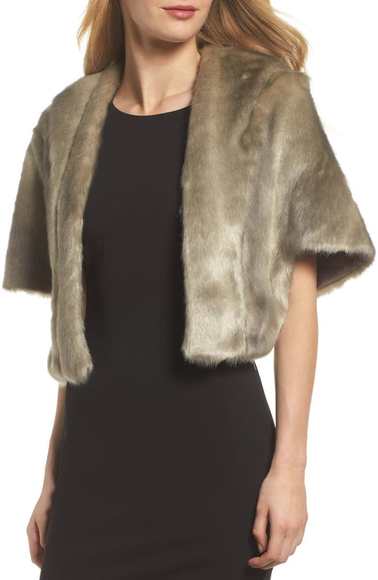 ELIZA J Faux Fur Capelet, Main, color, GREY