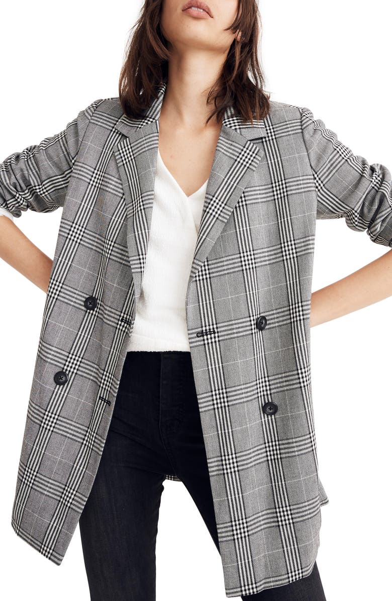 MADEWELL Caldwell Plaid Double Breasted Blazer, Main, color, 009
