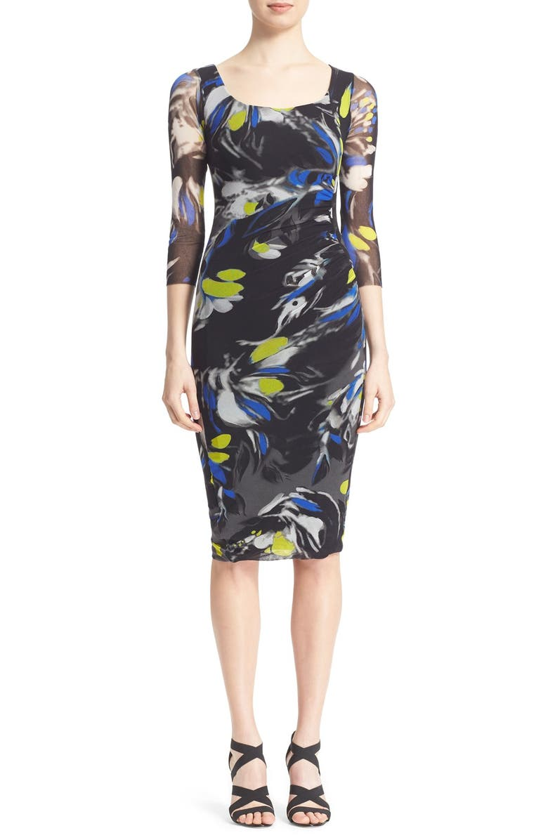 FUZZI Abstract Floral Print Tulle Mesh Dress, Main, color, 001