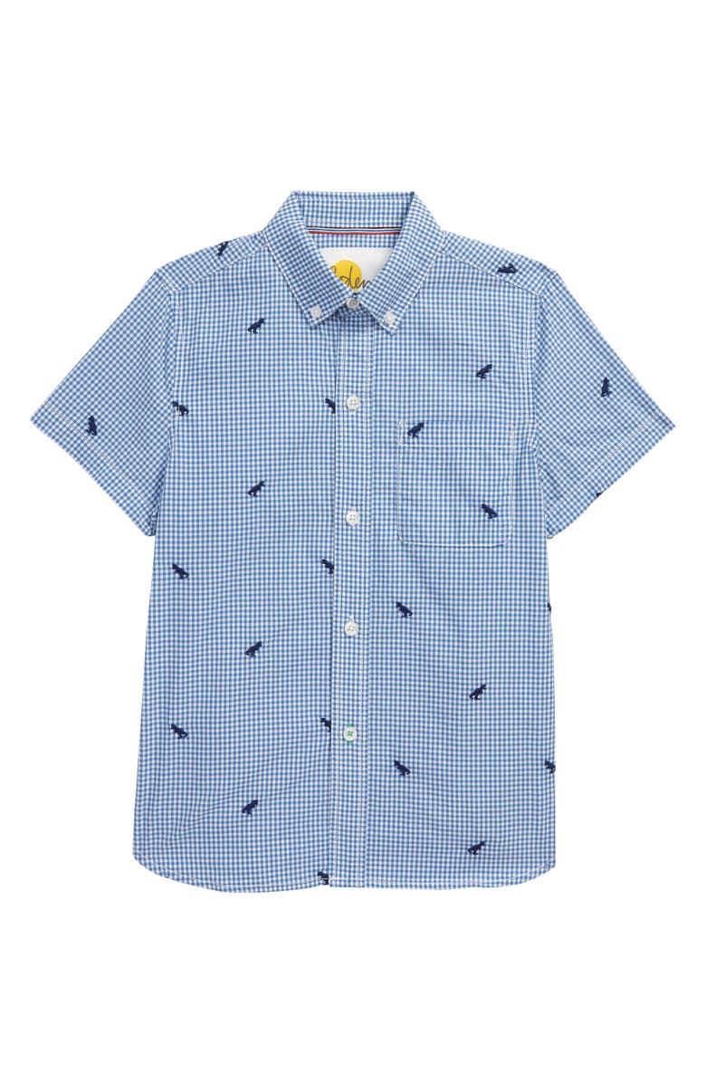 MINI BODEN Kids' Embroidered Gingham Button-Up Shirt, Main, color, SKY BLUE/ IVORY GINGHAM DINOS
