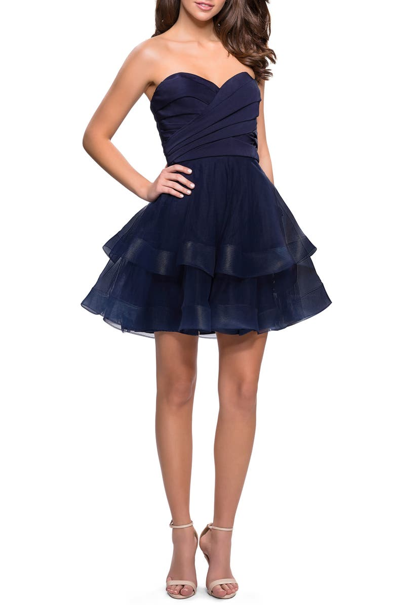 LA FEMME Tiered Tulle Minidress, Main, color, NAVY
