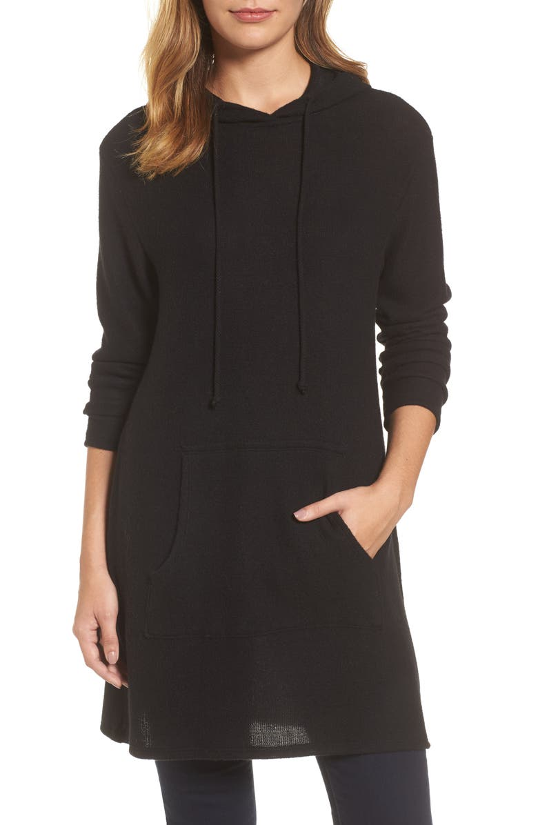 CASLON<SUP>®</SUP> Hooded Tunic, Main, color, Black