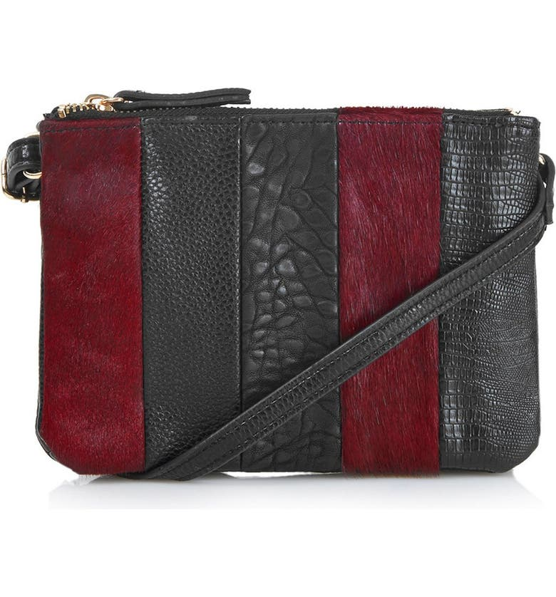 TOPSHOP Faux Leather Bag with Genuine Calf Hair Trim, Main, color, BURGUNDY