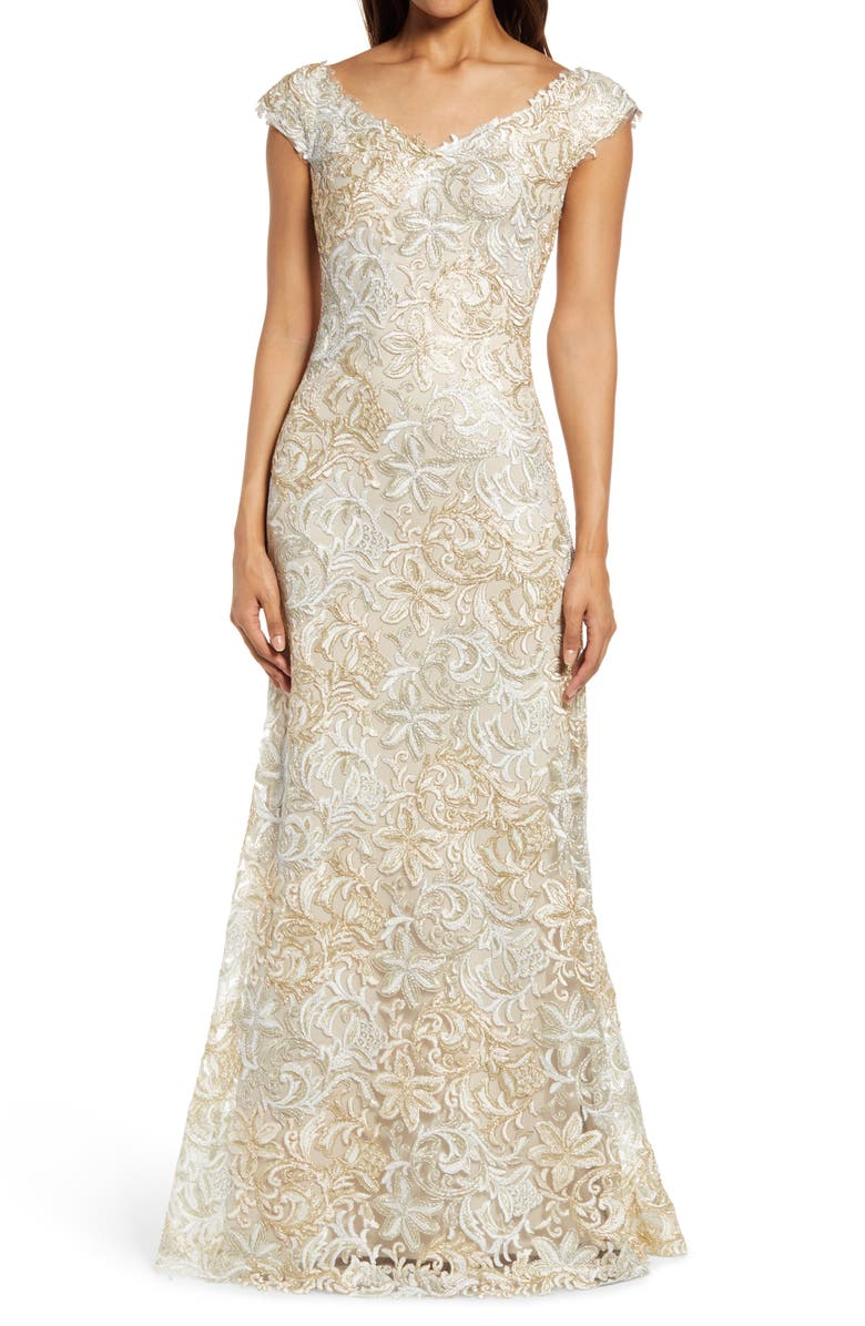 TADASHI SHOJI Cap Sleeve Embroidered Lace Gown, Main, color, WHITE/GOLD