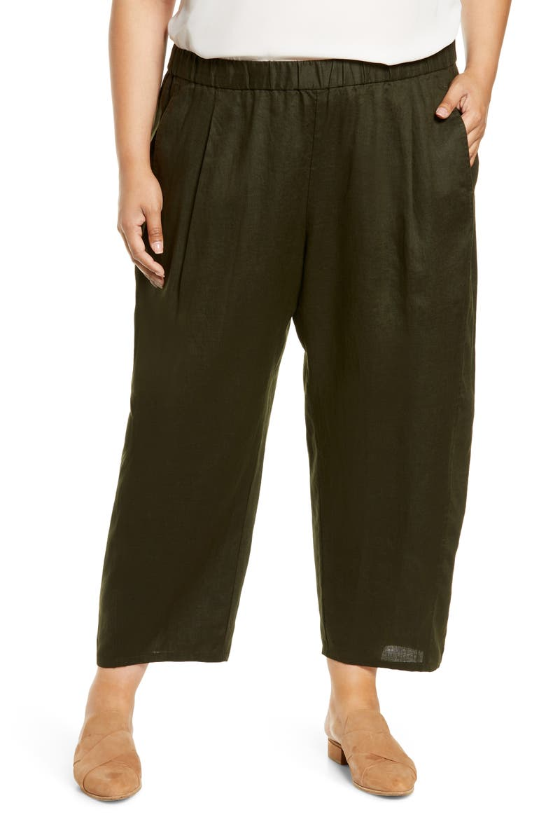 EILEEN FISHER Lantern Organic Linen Ankle Pants, Main, color, SEAWEED