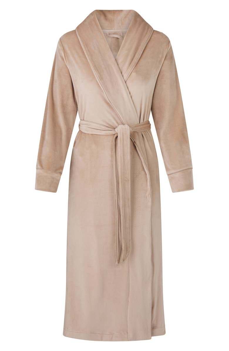SKIMS Velour Women's Long Robe, Main, color, HONEY