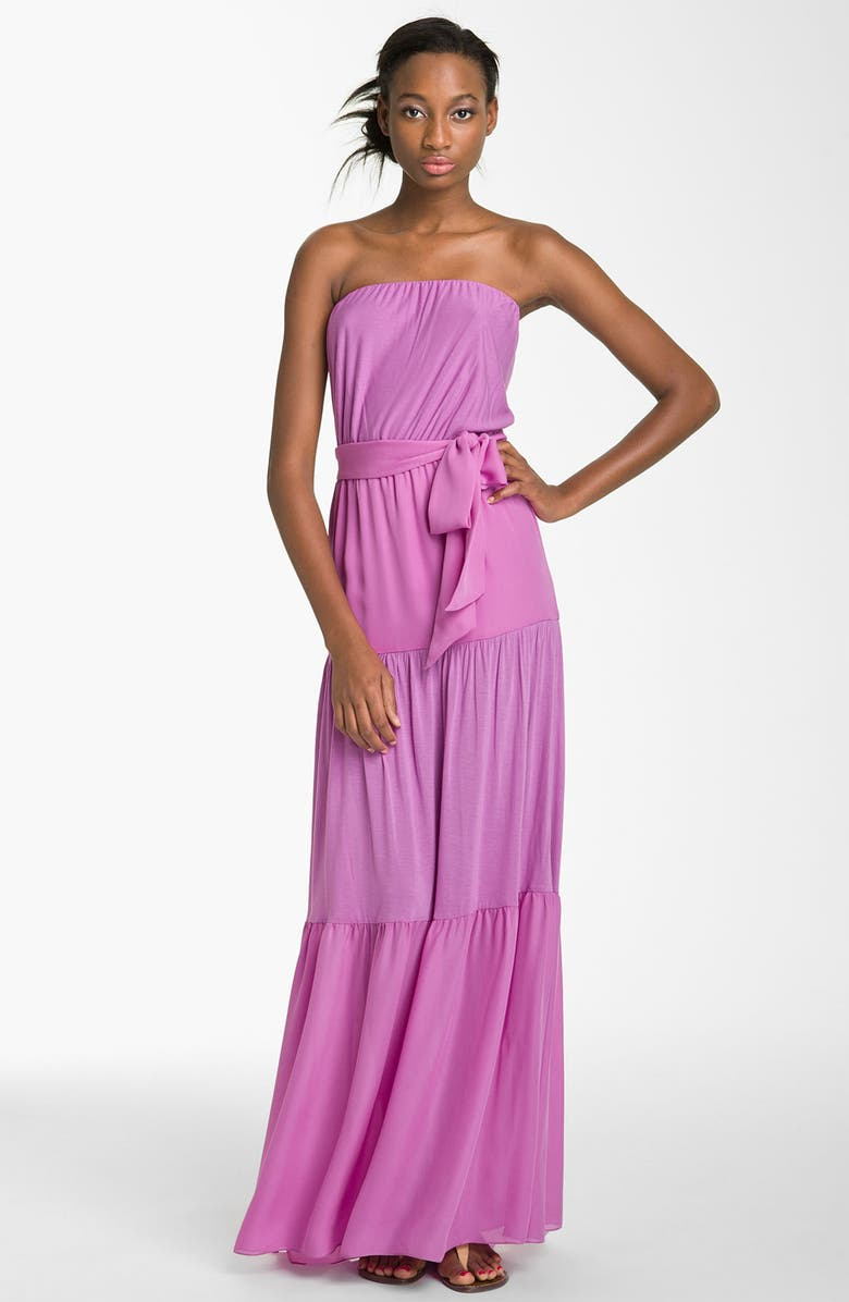 HAUTE HIPPIE Strapless Tiered Maxi Dress, Main, color, 530