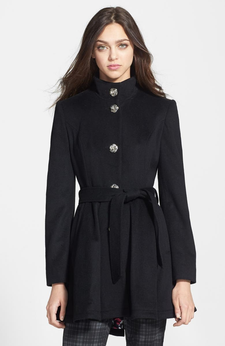 BETSEY JOHNSON Belted Skirted Wool Blend Coat, Main, color, 001