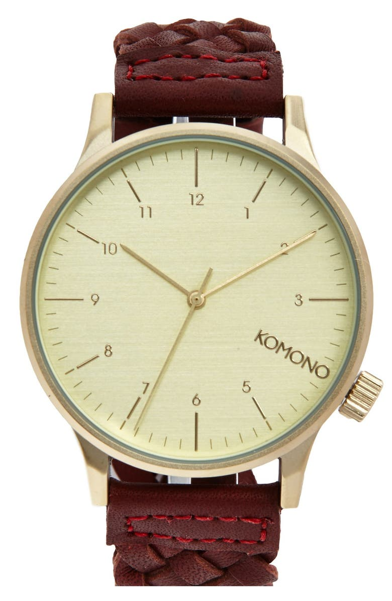 KOMONO 'Winston' Round Dial Woven Leather Strap Watch, 40mm, Main, color, 930