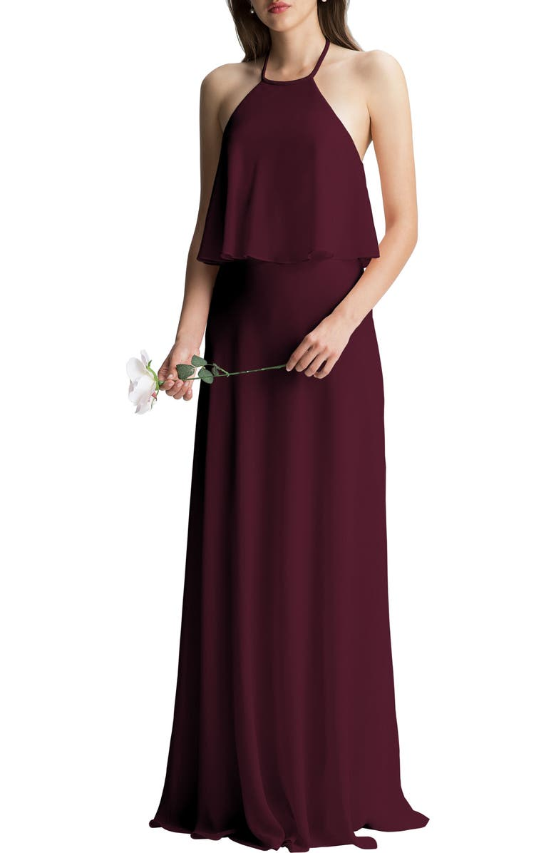 #LEVKOFF Halter Overlay Chiffon A-Line Gown, Main, color, 600