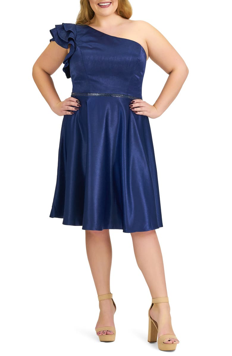 MAC DUGGAL One-Shoulder Ruffle Cocktail Dress, Main, color, MIDNIGHT