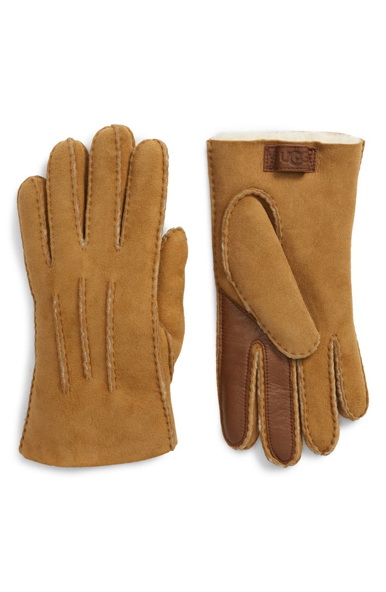 UGG<SUP>®</SUP> Genuine Shearling Tech Gloves, Main, color, CHESTNUT