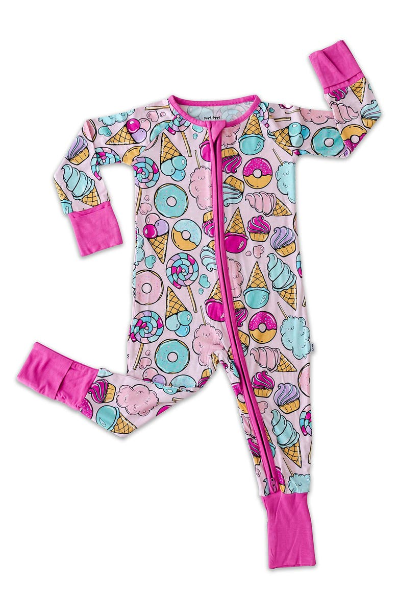 LITTLE SLEEPIES Sweet Treats Fitted One-Piece Pajamas, Main, color, PINK SWEET TREATS