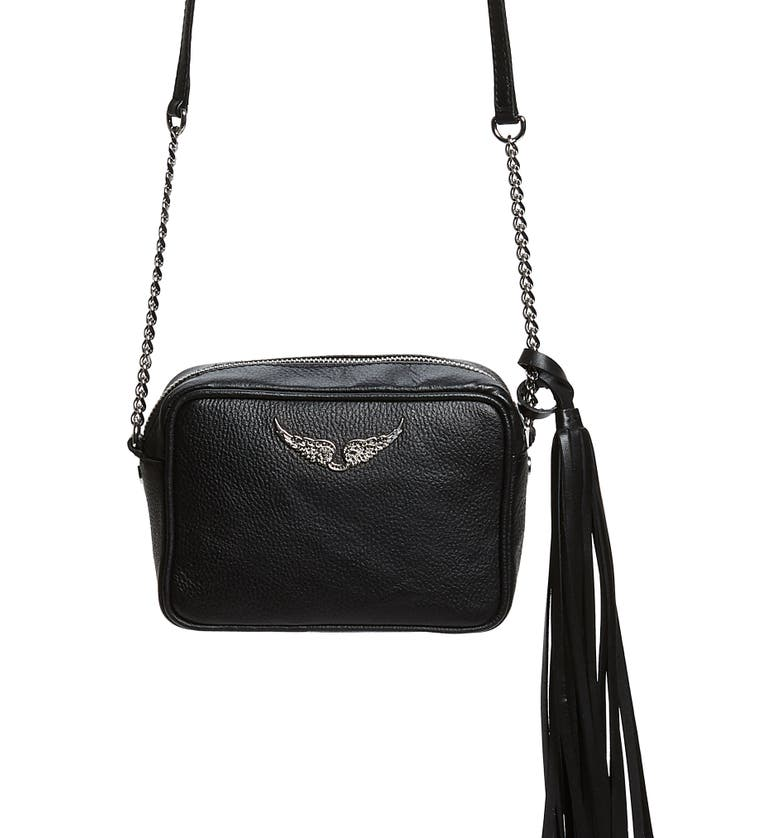 ZADIG & VOLTAIRE Boxy Extra Small Tassel Leather Crossbody Bag, Main, color, 001