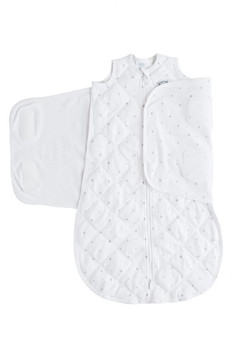DREAMLAND BABY Dream Weighted Wearable Blanket, Main, color, WHITE WITH GRAY STARS