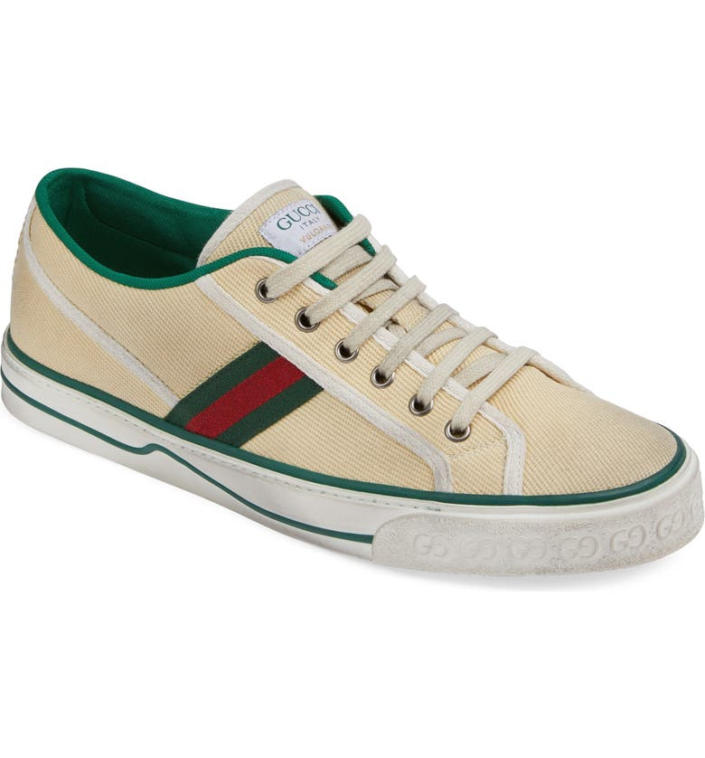 GUCCI Web Canvas Low Top Sneaker, Main, color, WHITE