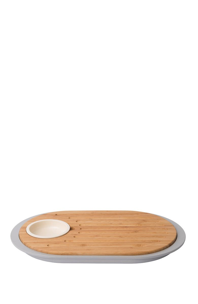 BERGHOFF INTERNATIONAL Leo 2-Sided Tapas Cutting Board with Tray, Main, color, GREY
