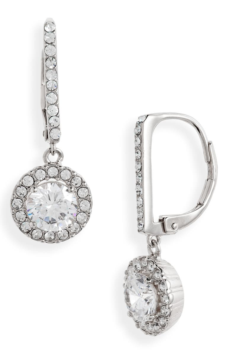 NORDSTROM Cubic Zirconia Halo Drop Earrings, Main, color, CLEAR- SILVER
