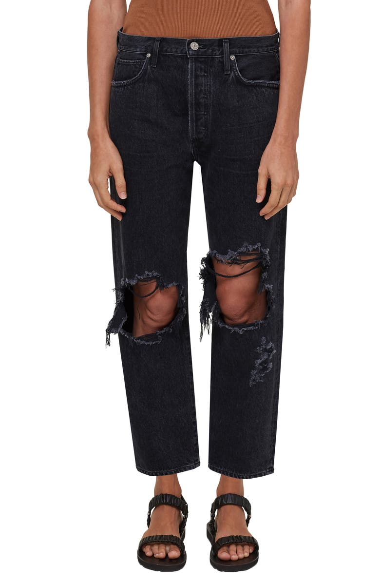 CITIZENS OF HUMANITY Emery Ripped High Waist Crop Straight Leg Jeans, Main, color, ROMANCE