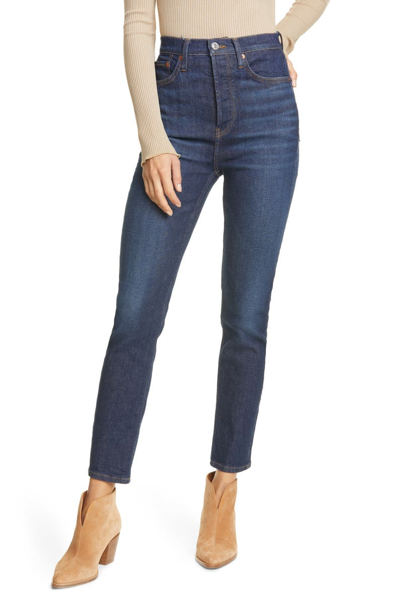 RE/DONE Originals Power Stretch High Waist Ankle Skinny Jeans, Main, color, 400