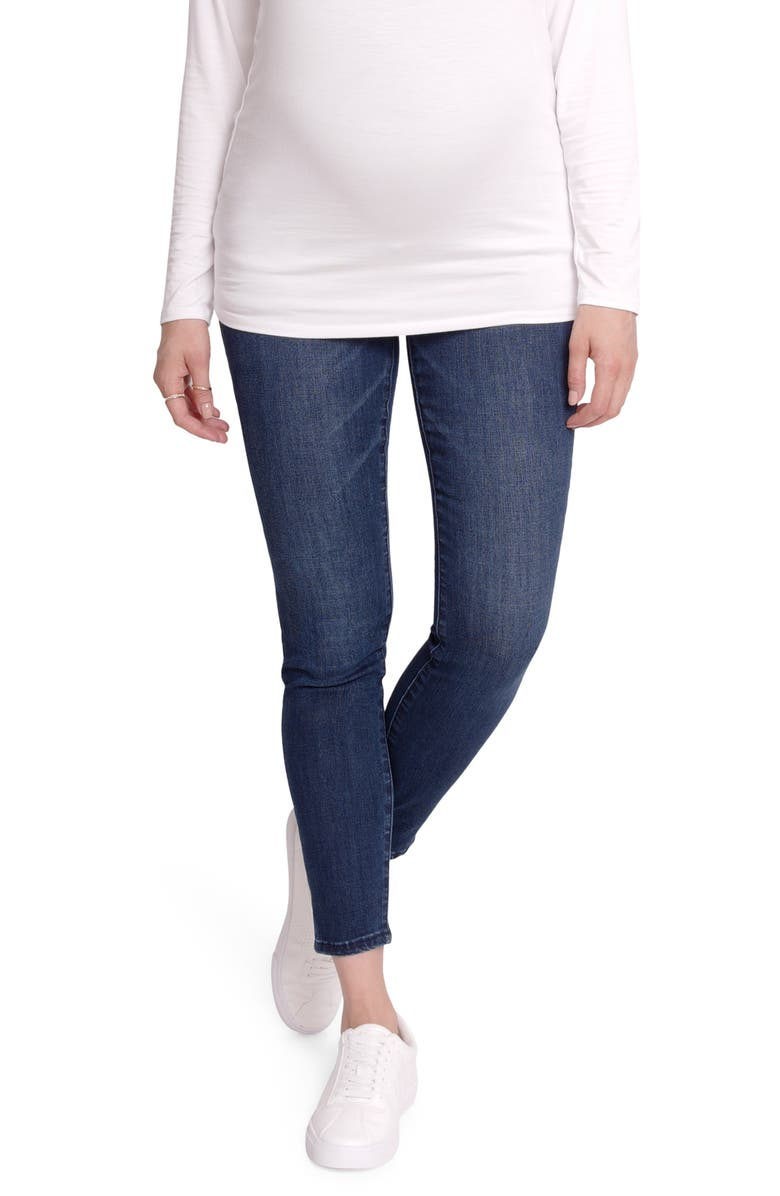INGRID & ISABEL<SUP>®</SUP> Crossover Panel Maternity Skinny Jeans, Main, color, INDIGO