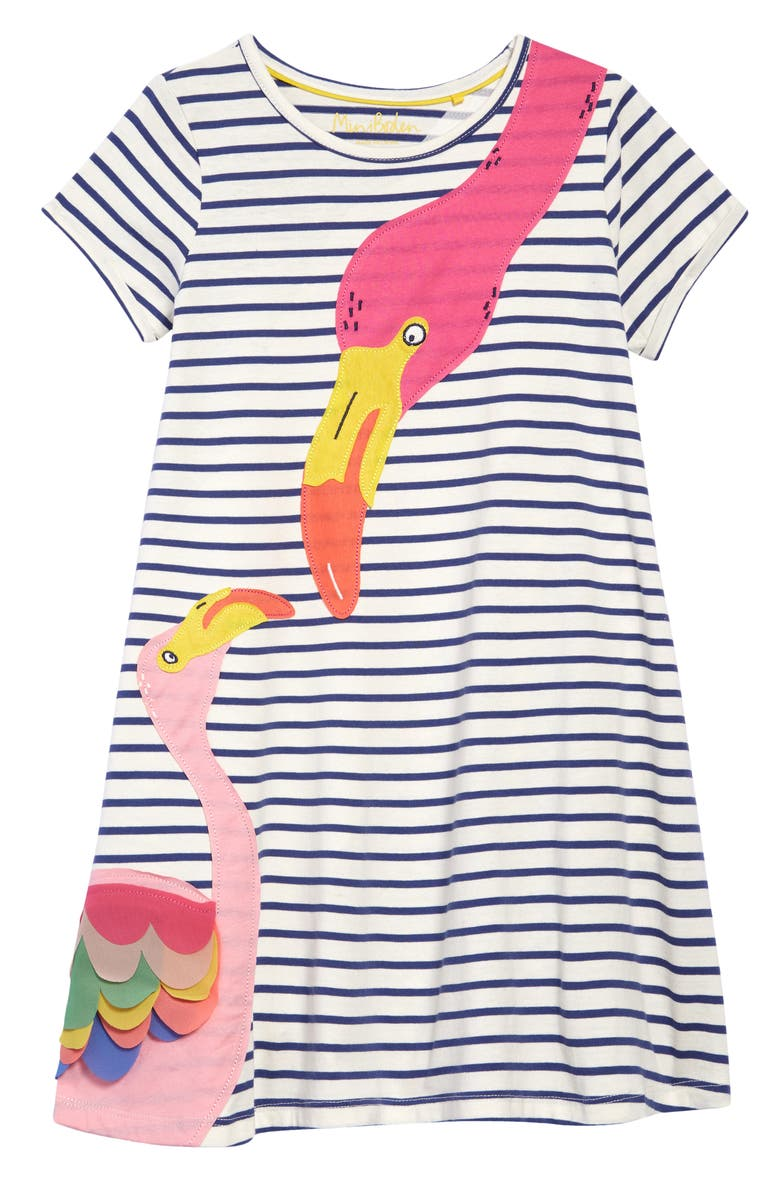 MINI BODEN Kids' Flamingo Appliqué Dress, Main, color, IVORY/ STARBOARD BLUE FLAMINGO