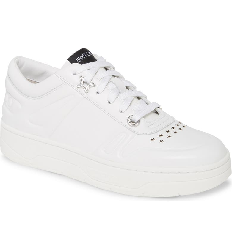JIMMY CHOO Hawaii Lace-Up Sneaker, Main, color, White