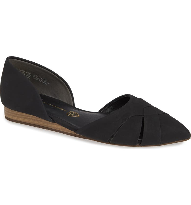 BC FOOTWEAR Focal Point Vegan Pointy Toe Flat, Main, color, 001