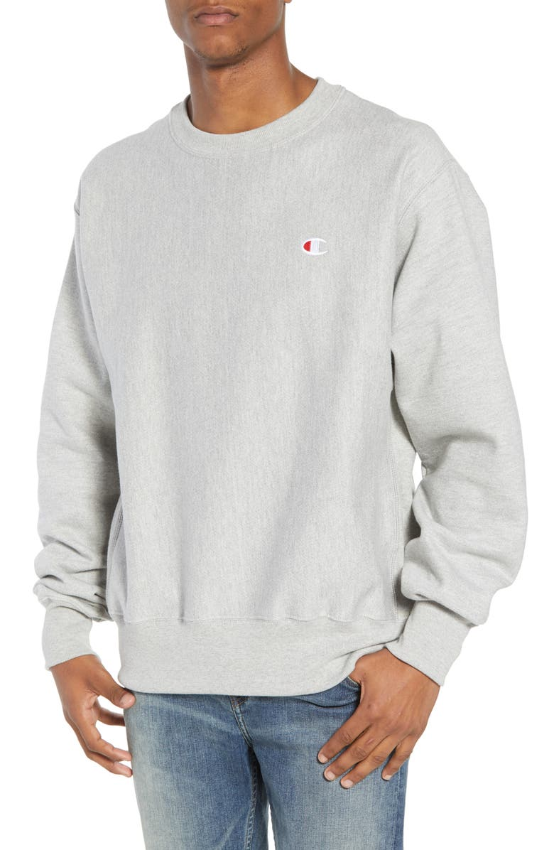 CHAMPION Reverse Weave<sup>®</sup> Crew Sweatshirt, Main, color, OXFORD GRAY