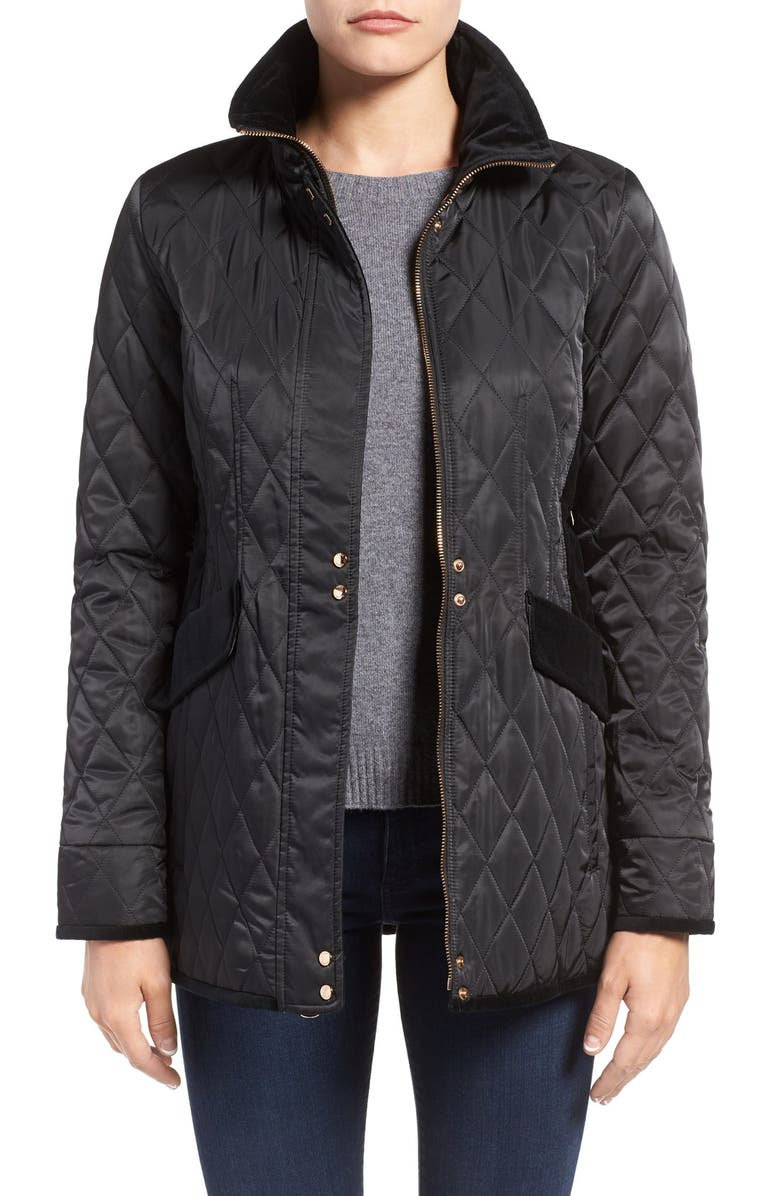 VINCE CAMUTO Velvet Trim Quilted Riding Jacket, Main, color, 001