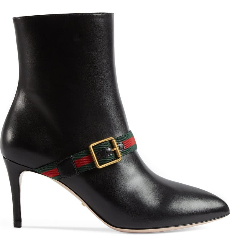 GUCCI Sylvie Strap Ankle Boot, Main, color, 001