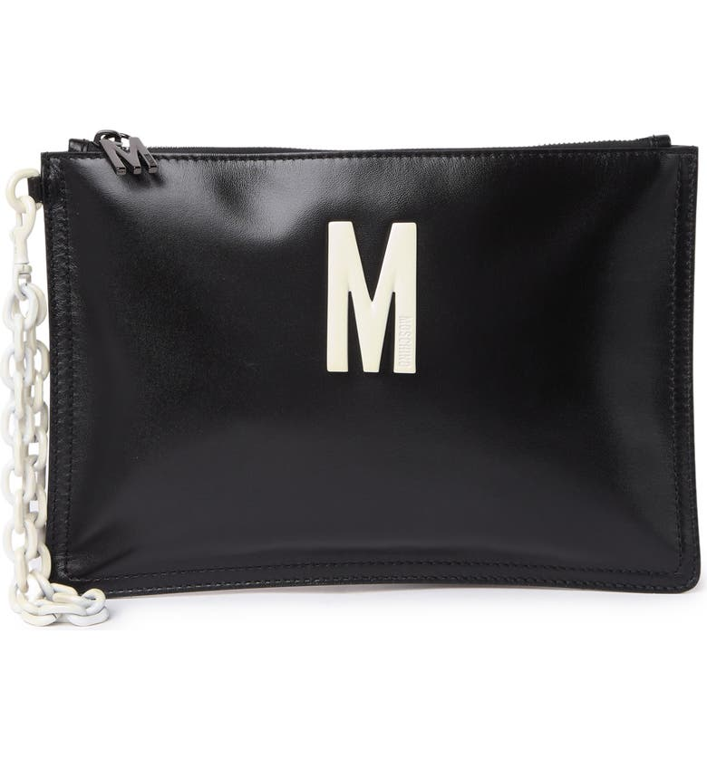 MOSCHINO Leather 'M' Zip Pouch, Main, color, BLACK
