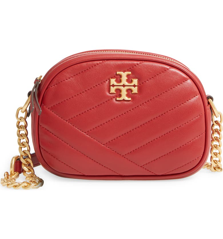 TORY BURCH Kira Camera Bag, Main, color, REDSTONE/ ROLLED BRASS