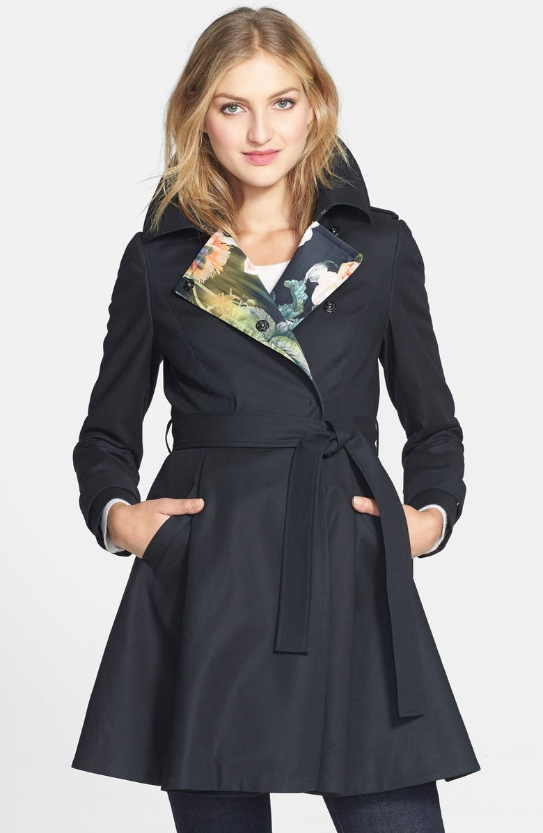 TED BAKER LONDON 'McKenzy' Print Lined Skirted Trench Coat, Main, color, Black