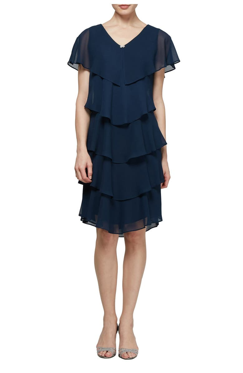 SLNY Georgette Tiered Chiffon Dress, Main, color, NAVY