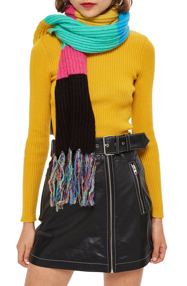 TOPSHOP Stripe Ribbed Scarf, Main, color, 001