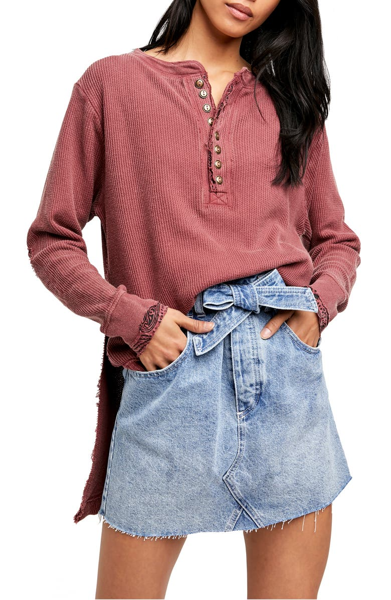 FREE PEOPLE Fall For You Henley, Main, color, SWEET CRANBERRY