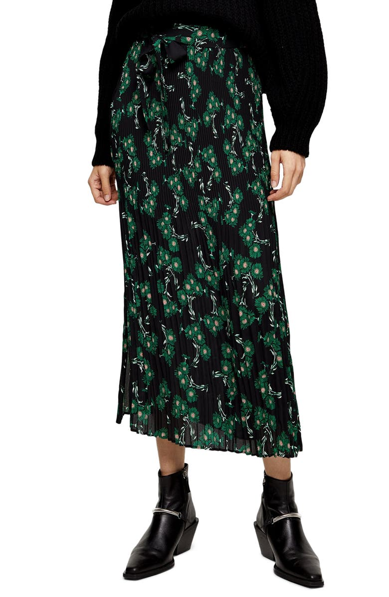 TOPSHOP Archive Crystal Floral Pleated Midi Skirt, Main, color, 001