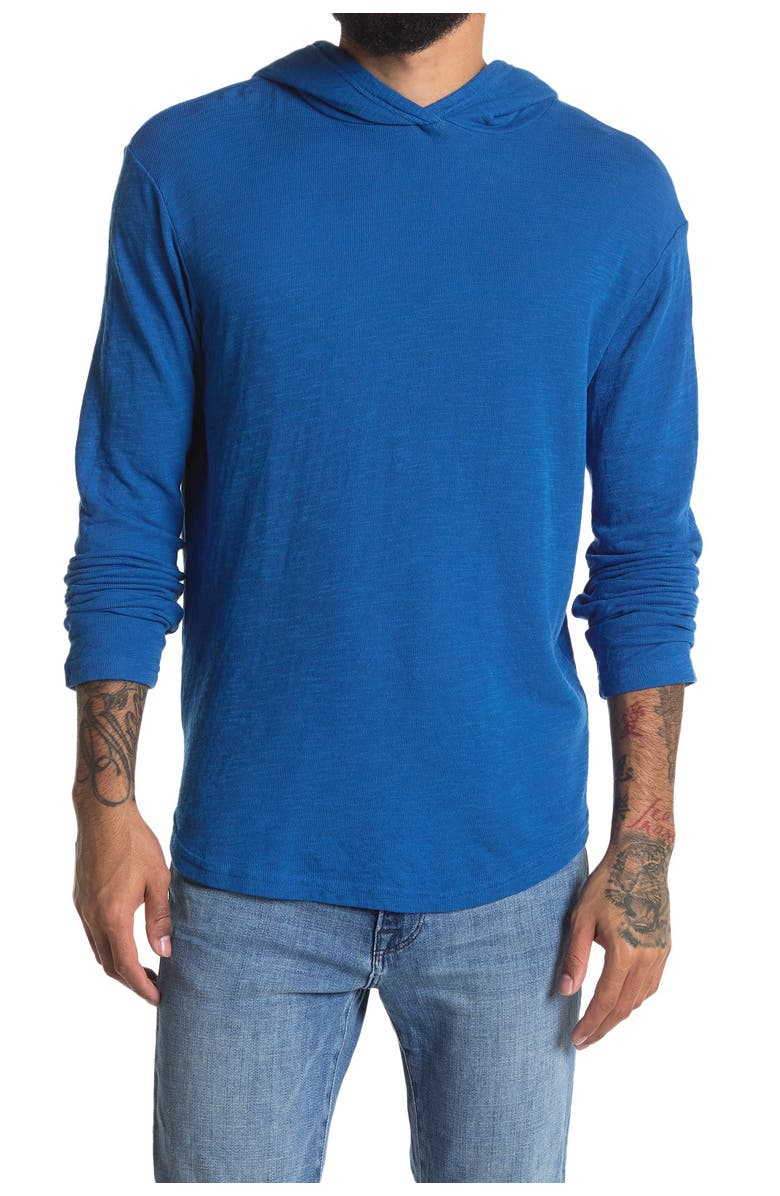 GOODLIFE Double Layer Scallop Hoodie, Main, color, STRONG BLUE