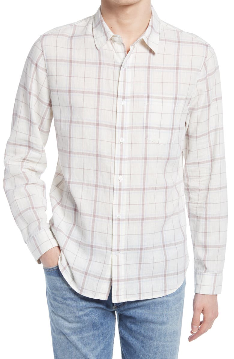 VINCE Regular Fit Plaid Linen Blend Button-Up Shirt, Main, color, LECHE/ SUMAC
