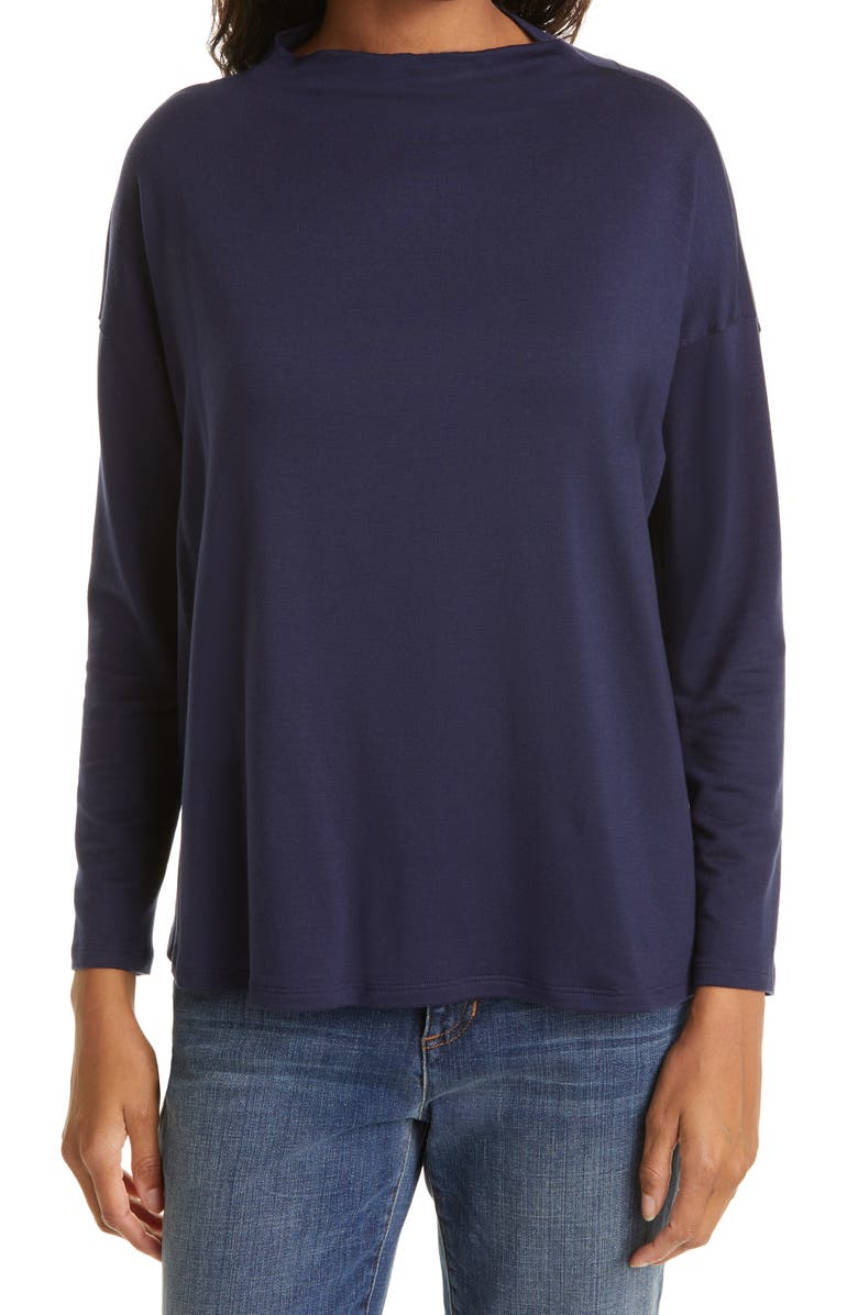 EILEEN FISHER Stretch Terry Funnel Neck Box Top, Main, color, MIDNIGHT