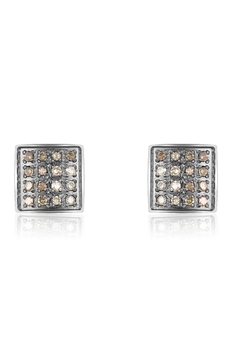 ADORNIA FINE Black Rhodium Plated Sterling Silver Pave Diamond Square Stud Earrings - 0.15 ctw, Main, color, SILVER