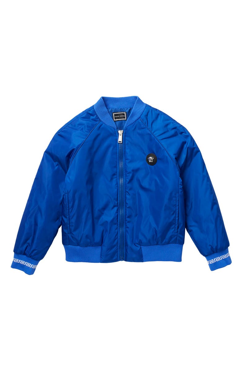 VERSACE Logo Embroidered Bomber Jacket, Main, color, SAPPHIRE WHITE