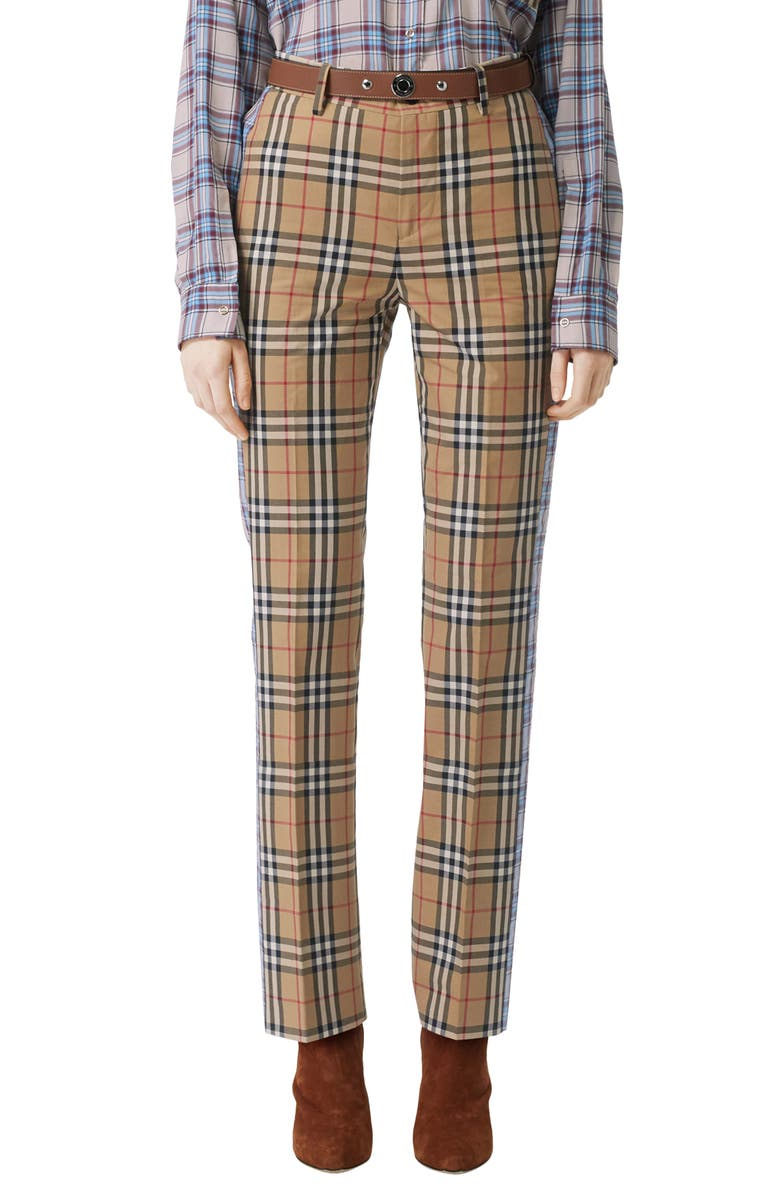 BURBERRY Dana Archive Check Print Cotton Pants, Main, color, 250