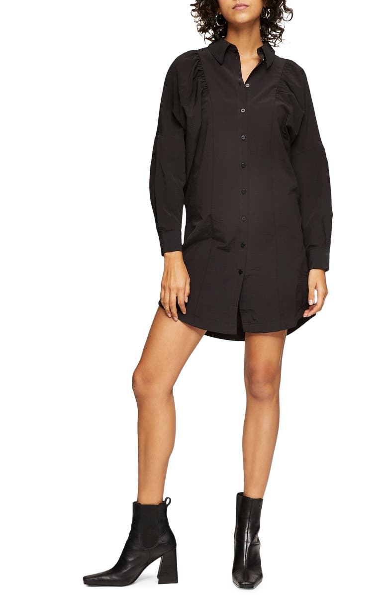 TOPSHOP Textured Mini Shirtdress, Main, color, BLACK